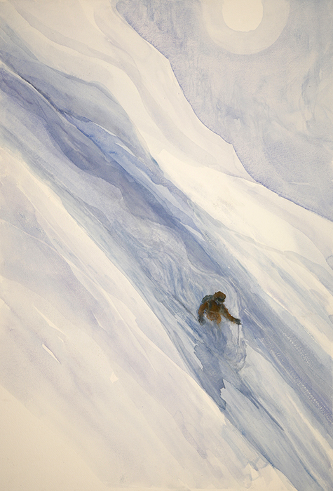powder skiing Val D Isere alpine painting water-colour ski