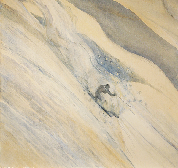 powder snow ski skiing painting alps
