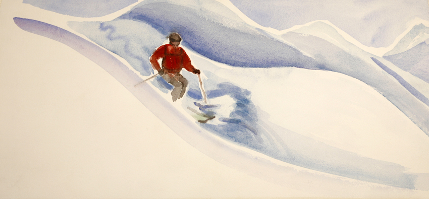 Powder Skiing Down  Slope - watercolour 26 x 56 cm £100