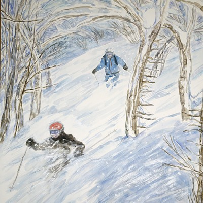 Commission - Skiing Powder in the Trees Japan - watercolour 55 x 75 cm sold