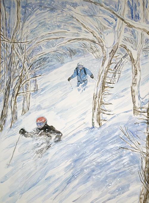 powder trees Japan ski skiing painting