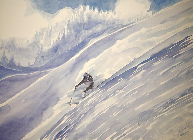 ski skiing painting powder field monashees canada