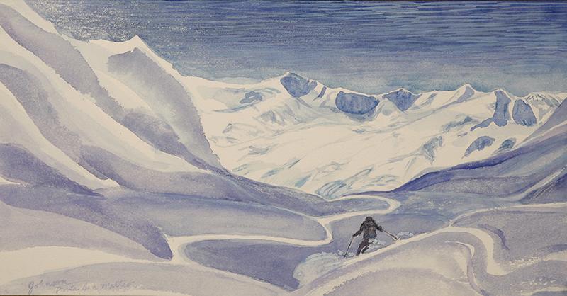 punta san matteo ortler Italy Alps skiing painting ski