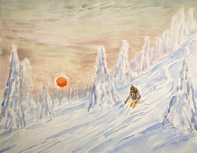 red sun powder Canada alpine skiing ski