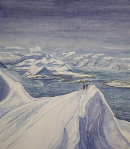 redotinden lyngen fjord skiing painting ski Norway