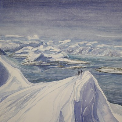 Reaching the Summit of Redotinden View to Uloya Island, Lyngen Fjord Norway - watercolour 55 x 47 cm framed £600