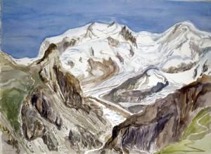 monte rosa from schwarzee Zermatt Switzerland ski skiing painting Alps