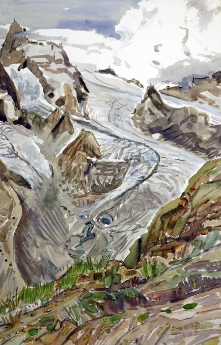klein matterhorn unter theodul glacier Zermatt Switzerland ski skiing painting Alps