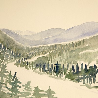 Winding Road through Pine Woods of Western Maine - watercolour 29 x 56 cm £275