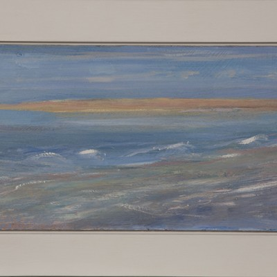 Smooth white frame for small oil of a Sandspit - 23 x 36 cm