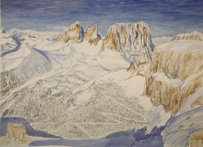 Italy Alps skiing painting ski passo pordoi to sassolungo dolomites italy