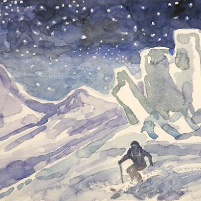 schwartor zermatt switzerland ski skiing painting Alps