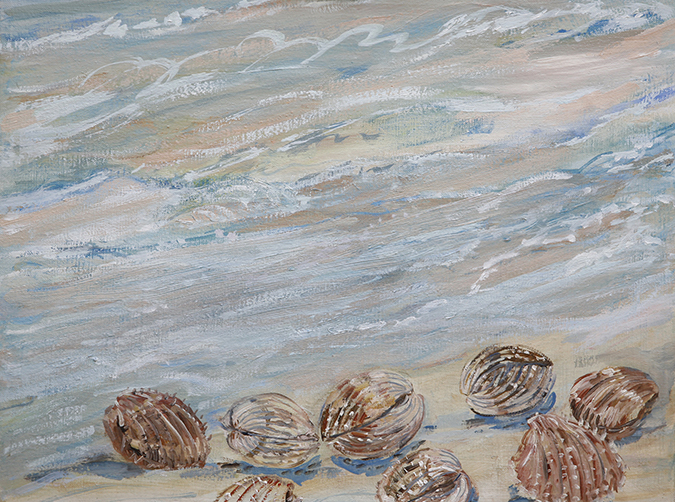 shell in surf oil painting