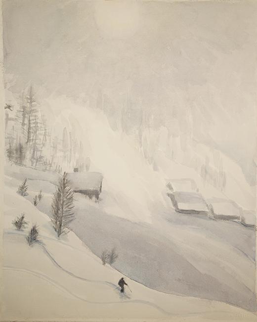 Lone skier Leukerbad Lotschental powder ski skiing painting Alps Switzerland