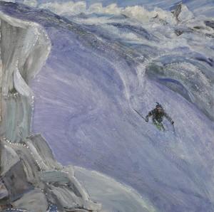 ski skiing painting Alps schwarztor powder zermatt switzerland