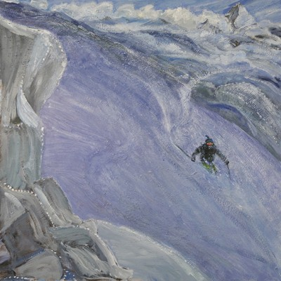 Sinking into the Powder on the Schwarztor, View to Matterhorn Zermatt Switzerland - oil on hardboard unframed 61 x 61 cm £900