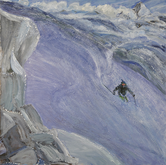 ski skiing painting Alps schwarztor powder zermatt switzerland