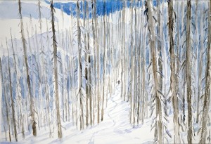 ski painting skiing trees monashees powder