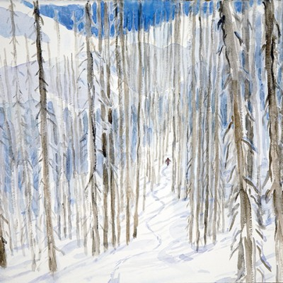 ski painting skiing trees monashees powder
