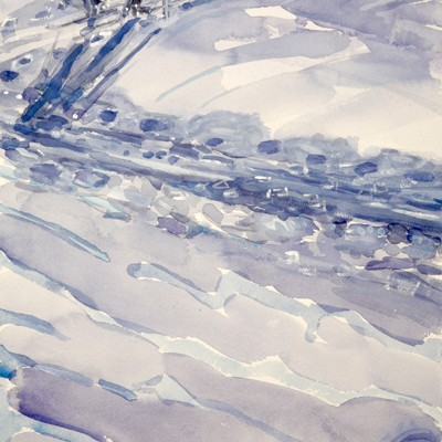 Skinning Track on the Haute Route, Morning Light - watercolour  54 x 26 cm SOLD