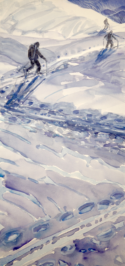 skiing painting ski Alps skinning track haute route