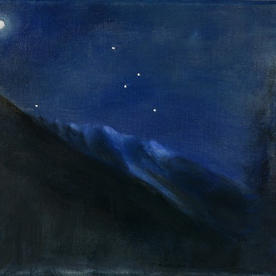 mont blanc alpine oil painting moon stars