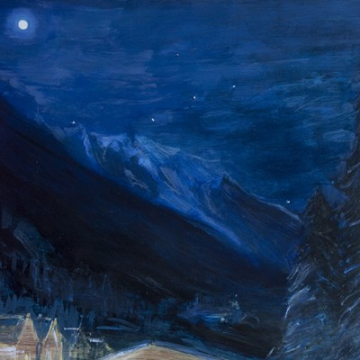 mont blanc alpine oil painting