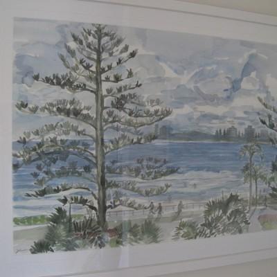 White frame with white mount for watercolour