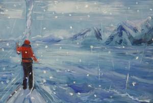 Boreal Yachting Artic Ice skiing painting ski Norway