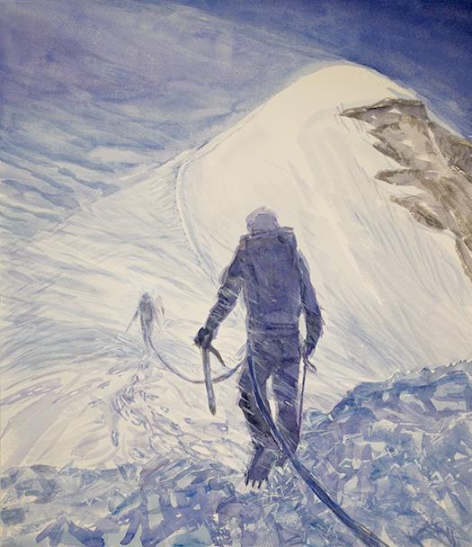 italian haute route spaghetti tour painting alps spindrift on Pollux summit valais