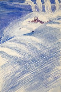 spraying powder val d isere france skiing painting alps