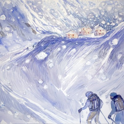 hospice of st bernard hospizio Switzerlnd ski skiing painting Alps
