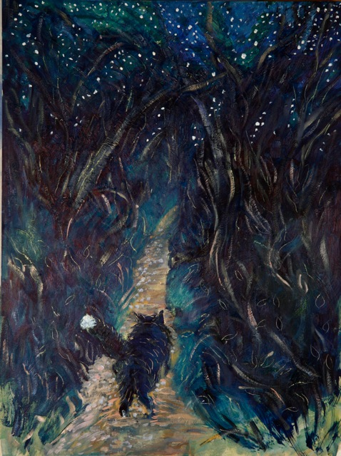 cat stars oil paintings