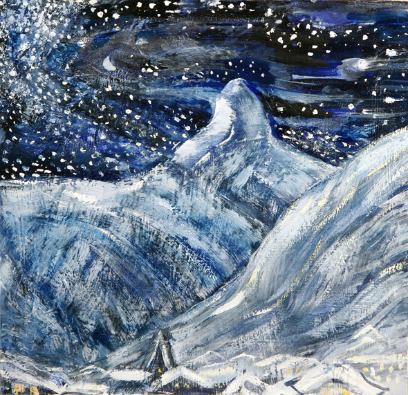 Small oil on hardboard - Stars swirling around the Matterhorn