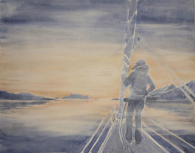 sunset over fugloya nordlenangen skiing painting ski Norway
