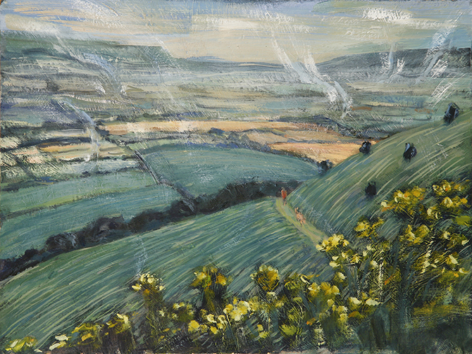 path south downs Lewes oil painting