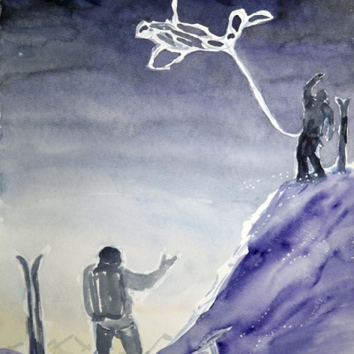 Guide Throwing the Rope on Haute Route, Early Morning Stars - watercolour 44 x 36 cm £225 unframed