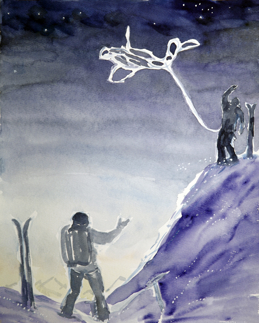 skiing painting ski Alps throwing the rope haute route