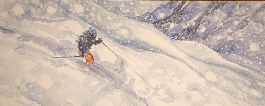 powder in Tignes France alpine skiing off piste painting