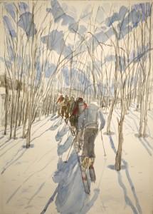 Skinning to the birches Jokelfjord skiing painting ski Norway