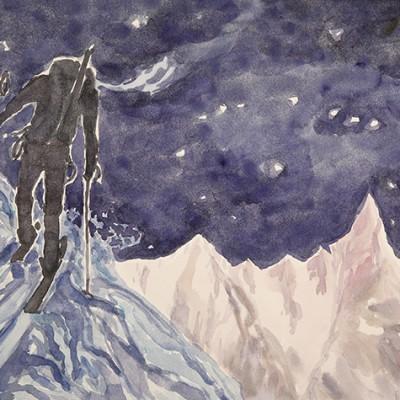 ski skiing painting Alps tourer pt de Tsa arolla switzerland