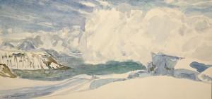 trolltinden lyngen fjord skiing painting ski Norway
