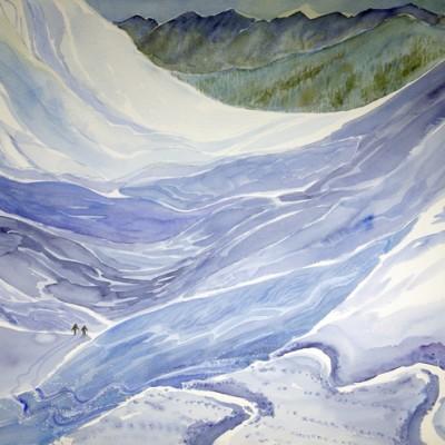 val de reche grimentz Switzerland ski skiing painting Alps