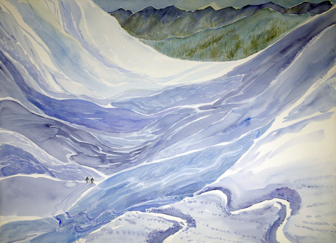 val de reche grimentz Switzerland ski skiing painting Alps