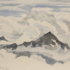 Sketch from Gnifetti hut, undercast clouds -  small watercolour paper carried up in back pack