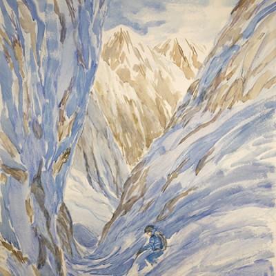 The Mystical Couloir - La Voute La Grave - watercolour on paper 88 x 55 cm £675