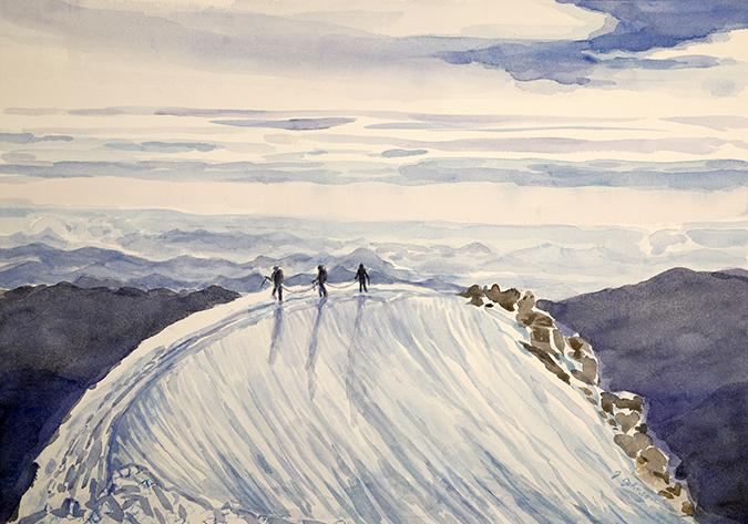 weissmies summit ridge 4000 metre peaks ski skiing painting Alps