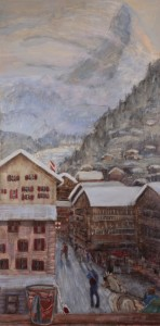 zermatt matterhorn hotel ambassador ski skiing painting Alps Switzerland