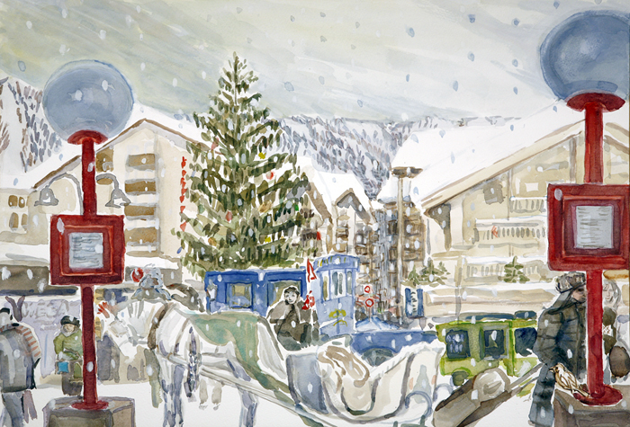 ski skiing painting Alps zermatt Bahnhof platz switzerland zermatterhof carriage