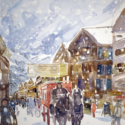 Snow Falling on Mont Cervin Hotel Carriage Horses on Bahnhofstrasse Zermatt - watercolour 61 x 51 cm SOLD